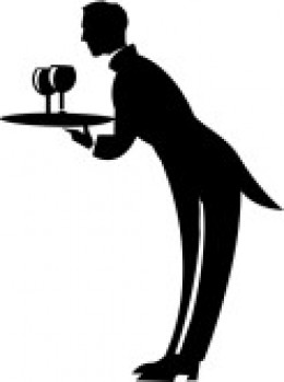 Generic black and white image of a butler serving wine with a tray