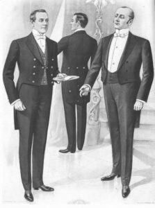 black and white drawing of 3 butlers standing in formal attire.  Butlers and House Managers.