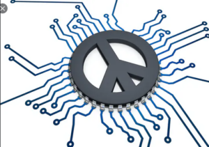 peace sign on a mother board
